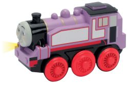 The Rosie die-cast battery-powered engine features powerful four-wheel drive, easy start button, auto shutdown feature, light, and realistic detail. Requires one AA battery (not included).