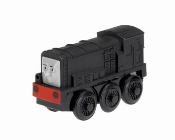 The Diesel die-cast battery-powered engine features powerful four-wheel drive, easy start button, auto shutdown feature, light, and realistic detail.  Requires one AA battery (not included).
